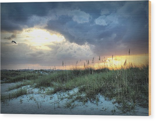 Wrightsville Beach South End Sunset Wood Print