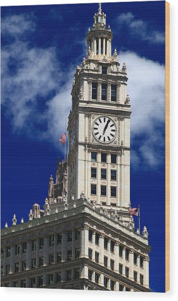 Wrigley Building Clock Tower Wood Print