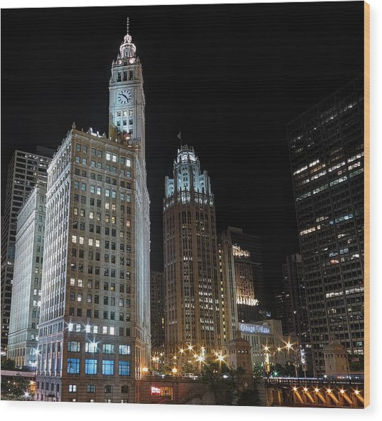 Wrigley Building Wood Print