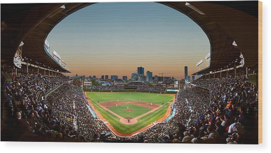 Wrigley Field Night Game Chicago Wood Print