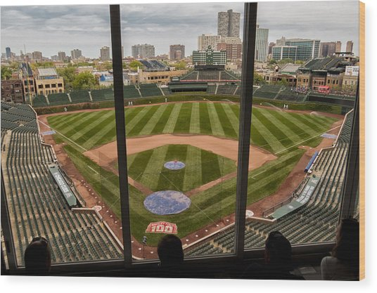 Wrigley Field Press Box Wood Print