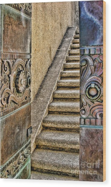 Wrigley's Bronze Doors By Diana Sainz Wood Print