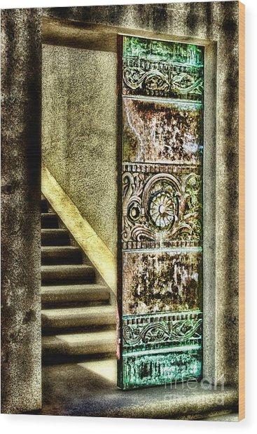 Wrigley's Tower Bronze Doors By Diana Sainz Wood Print