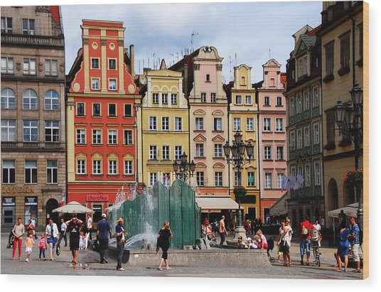 Wroclaw Old Town In Poland Wood Print by Jacqueline M Lewis