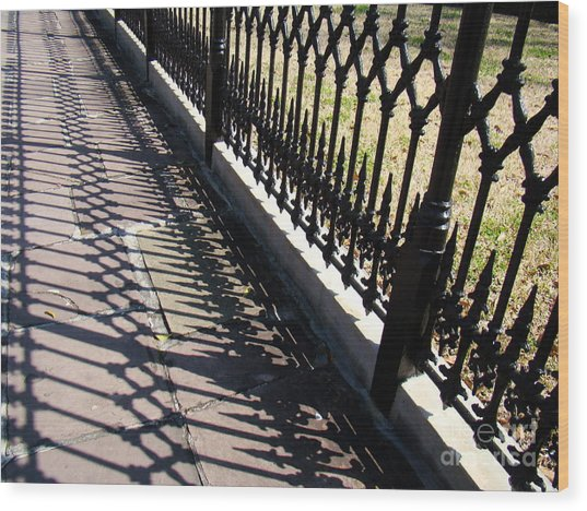 Wrought Iron Fence Wood Print by Eva Kato