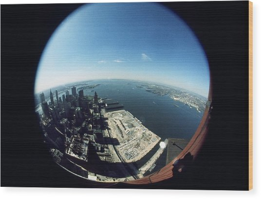 Wtc North Tower Hudson River Wood Print