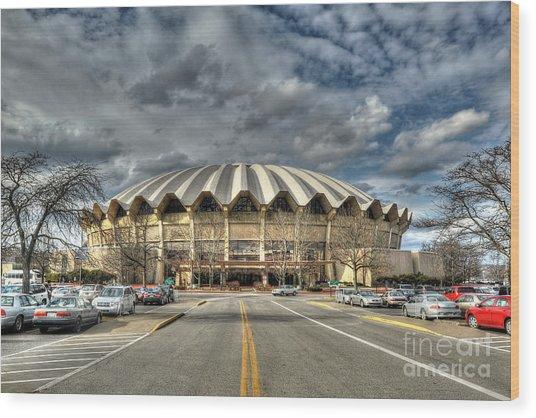 Wvu Basketball Coliseum Arena In Daylight Wood Print by Dan Friend