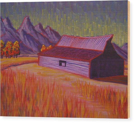 Wyoming Barn In Red Wood Print