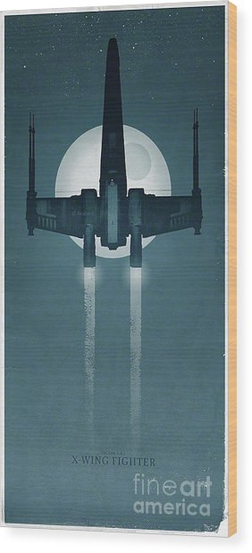X Wing Fighter Wood Print by Baltzgar