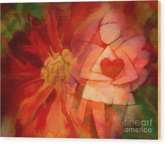 Xmas Angel Wood Print by Lutz Baar