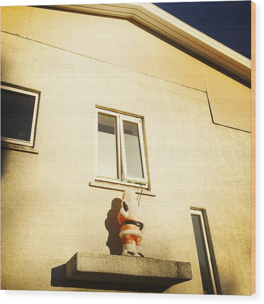 Xmas Decoration With Santa In June Akureyri Iceland Wood Print