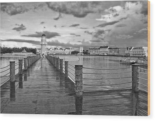 Yacht And Beach Lighthouse In Black And White Walt Disney World Wood Print