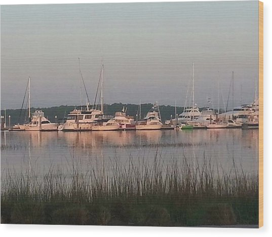 Yacht And Harbor View Wood Print