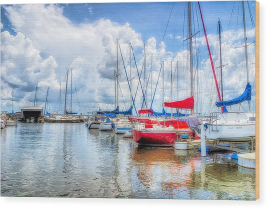Yacht Club Wood Print