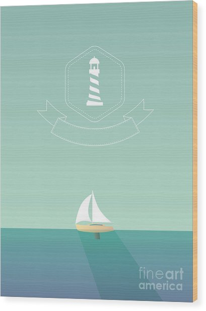 Yacht Sailing In The Sea. Traveling Wood Print