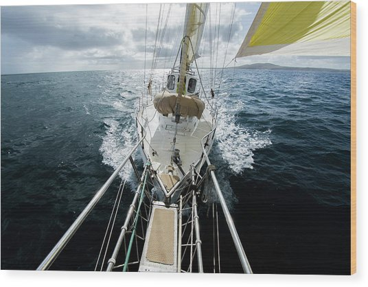Yacht Sailing On The Southern Ocean Wood Print by John White Photos