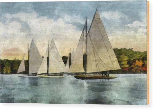 Yachting In Saugatuck Wood Print