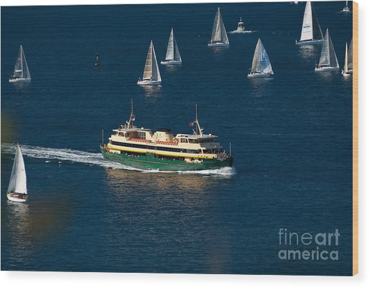 Yachts And Manly Ferry On Sydney Harbour Wood Print