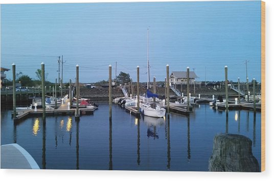 Yachts In Dock Wood Print