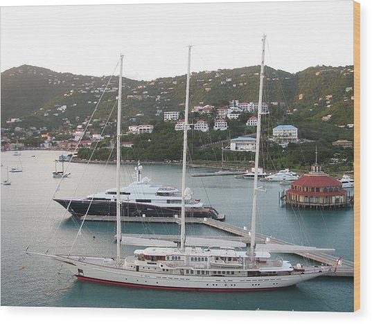 Yachts In St. Thomas Wood Print by Steven Parker