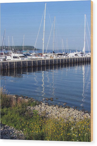 Yachtworks Marina Sister Bay Wood Print