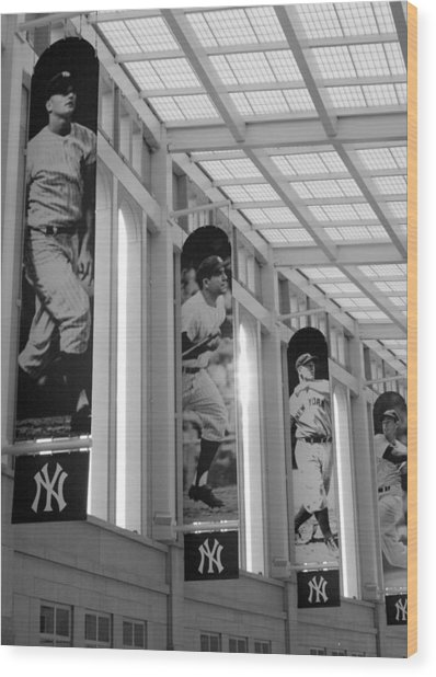 Yankee Greats Of Yesteryear In Black And White Wood Print
