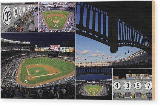 Yankee Stadium Collage Wood Print