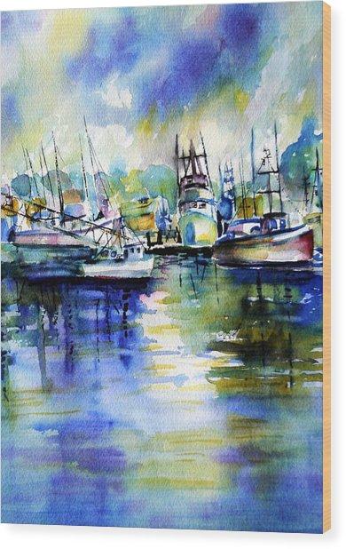 Yaquina Bay Boats Wood Print