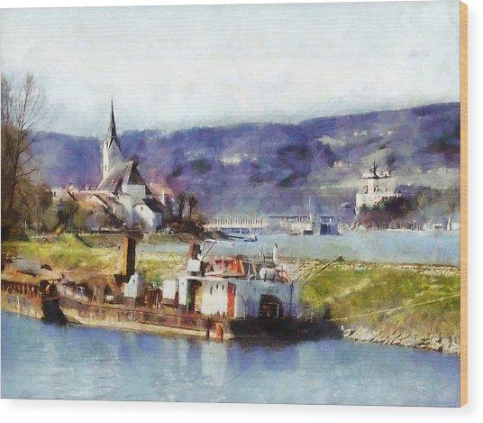Wood Print featuring the painting Ybbs An Der Donau Harbour by Menega Sabidussi