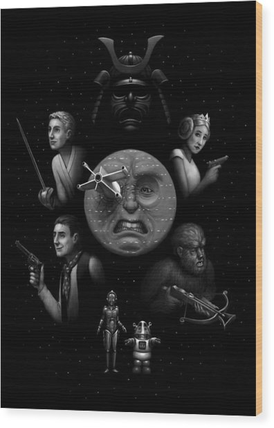 Ye Olde Space Movie Wood Print