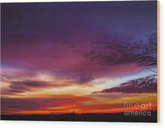 Year End Sunrise Wood Print