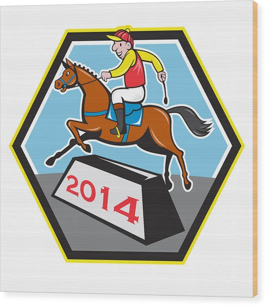 Year Of Horse 2014 Jockey Jumping Cartoon Wood Print by Aloysius Patrimonio
