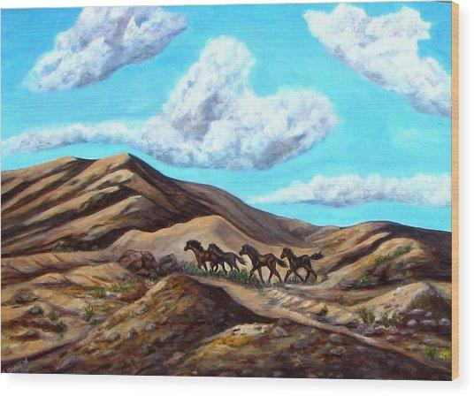 Year Of The Horse Wood Print by Caroline Owen-Doar