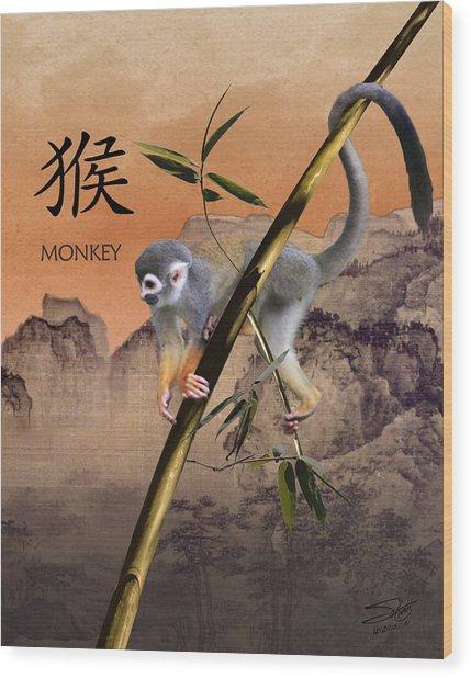 Year Of The Monkey Wood Print
