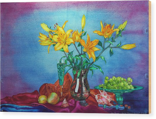 Yellow Lily In A Vase Wood Print