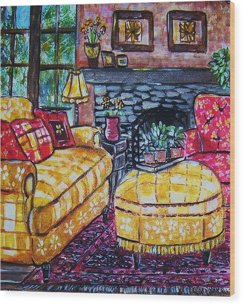 Yello Sofa Wood Print by Linda Vaughon