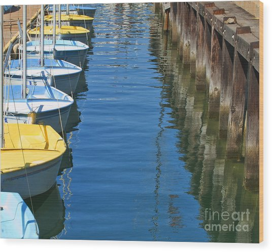 Yellow And Blue Sailboats From The Book My Ocean Wood Print
