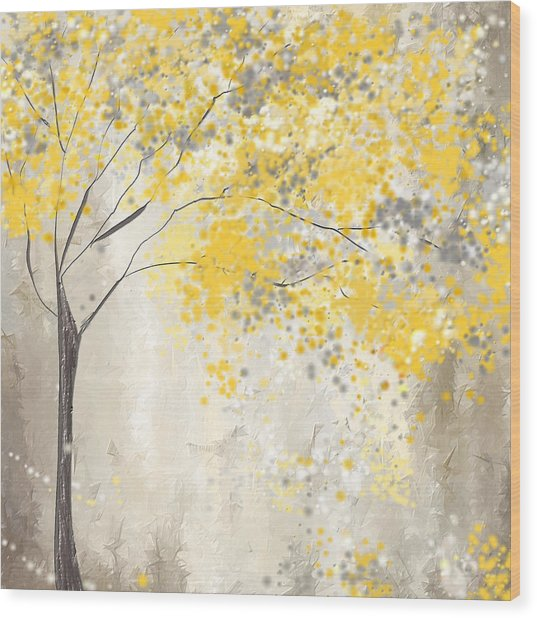 Yellow And Gray Tree Wood Print