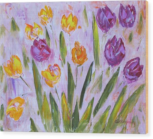 Yellow And Purple Wood Print