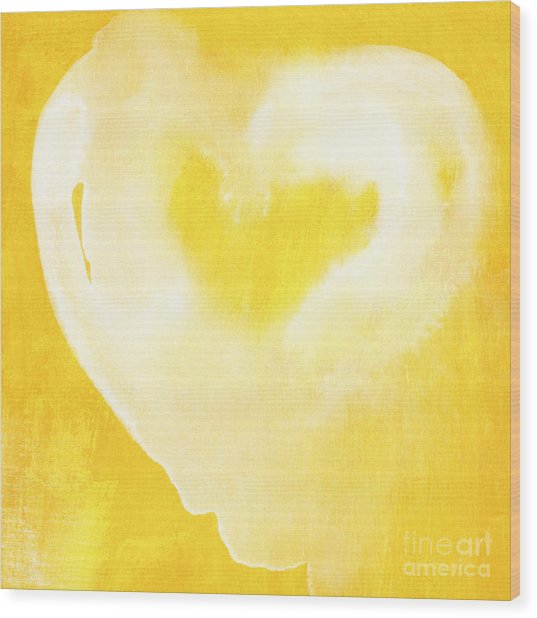 Yellow And White Love Wood Print