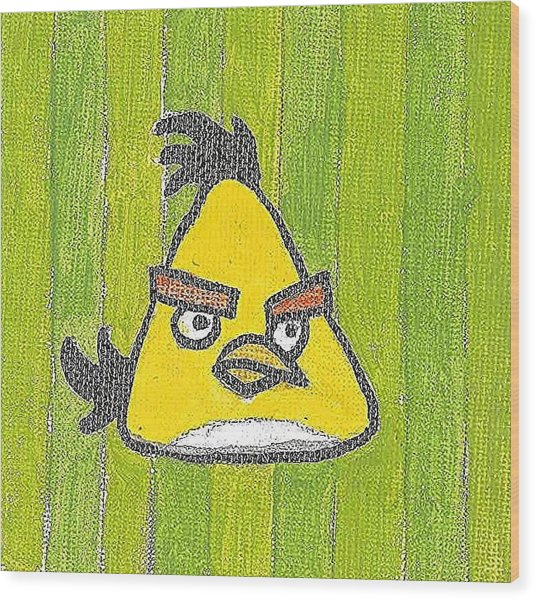 Yellow Angry Bird Wood Print by Fred Hanna