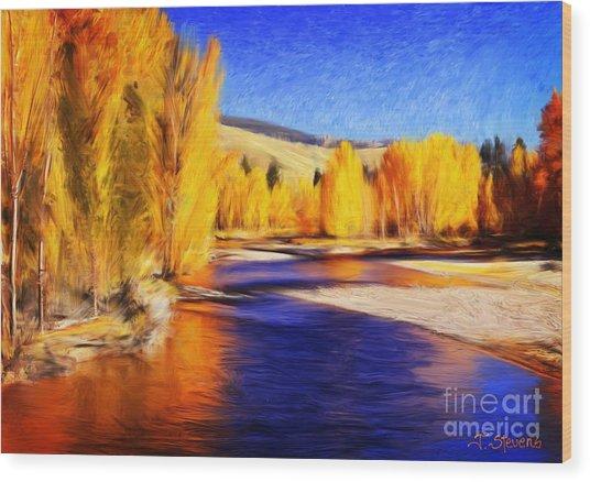 Yellow Bend In The River II Wood Print