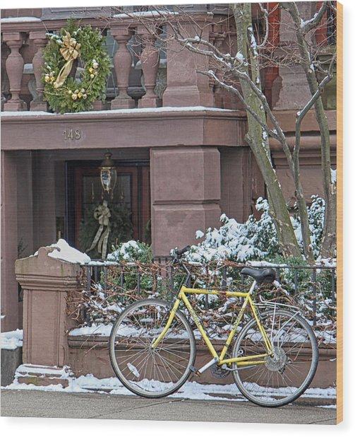 Yellow Bike In Boston Wood Print by Susan OBrien