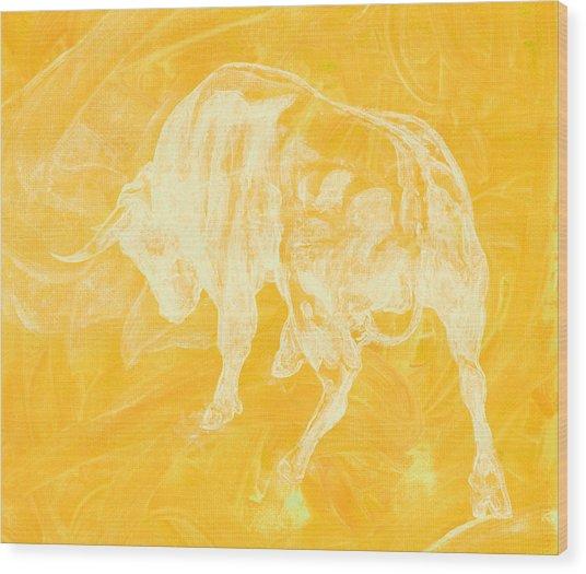 Yellow Bull Negative Wood Print
