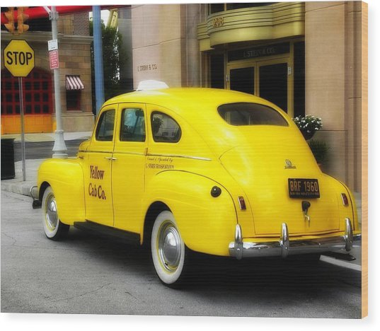 Yellow Cab Wood Print