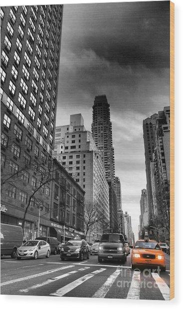 Yellow Cab One - New York City Street Scene Wood Print