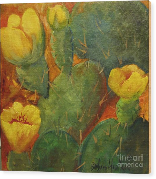 Yellow Cacti Wood Print