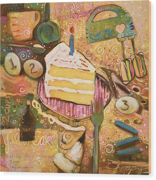 Yellow Cake Recipe Wood Print