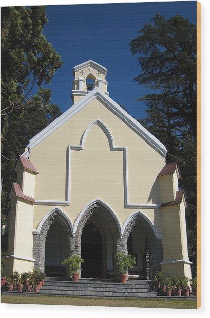Yellow Church Blue Sky Wood Print