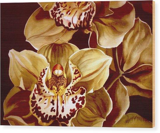 Yellow Cymbidium Orchid Wood Print